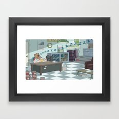 Snoozing Otto Framed Art Print