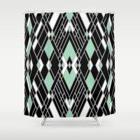 Art Deco Zoom Mint Shower Curtain