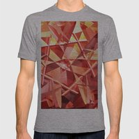 3D Folded Abstract Mens Fitted Tee Athletic Grey SMALL