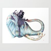 Elephant Shower Art Print