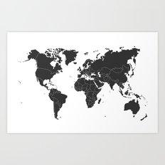 black and white World Map Art Print