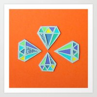 Diamonds Papercut Art Print
