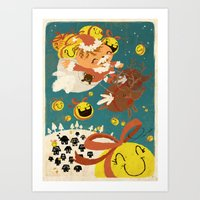 Merry Smiley Christmas T… Art Print