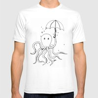 Octopus and Umbrella - outline Mens Fitted Tee White SMALL