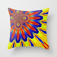 Primary Colors Modern Fl… Throw Pillow