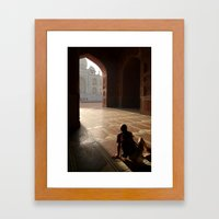 Tourist Photographing Taj Mahal Framed Art Print