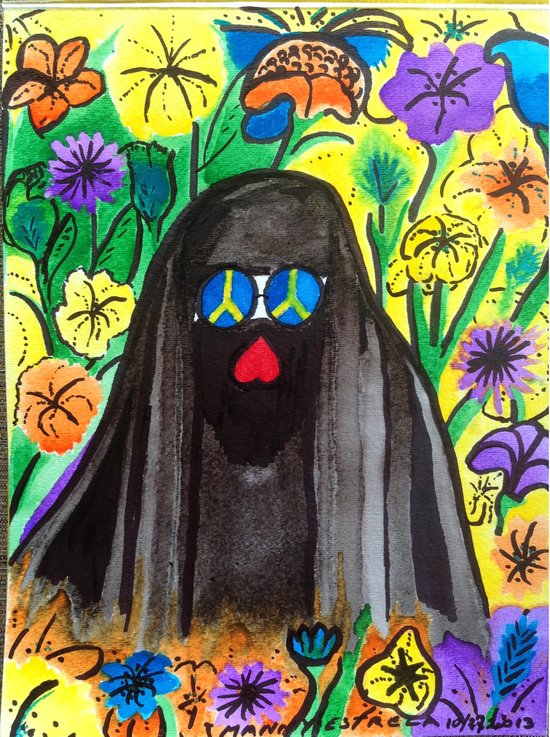 May you wear your Burka with Peace, Love and Freedom for all. Art Print