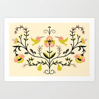 Hummingbirds and Pears Art Print