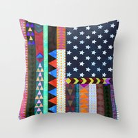 Boho America Throw Pillow