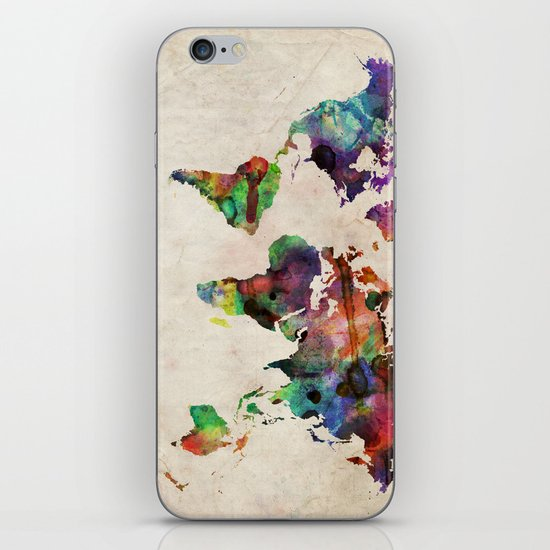 World Map Urban Watercolor iPhone & iPod Skin