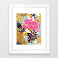 Laurel - Abstract painting in a free style with bold colors gold, navy, pink, blush, white, turquois Framed Art Print