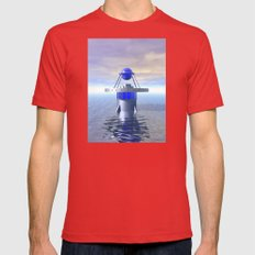 Blue Sci Fi Structure Mens Fitted Tee Red SMALL