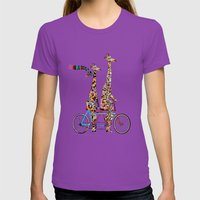 Giraffe Days Lets Tandem Womens Fitted Tee Ultraviolet SMALL