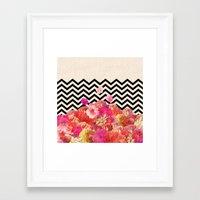 Framed Art Print featuring Chevron Flora II by Bianca Green