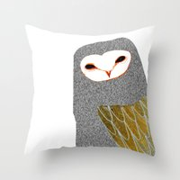 Barn owl, owl art, owl illustration, owls, nature, animal art,  Throw Pillow