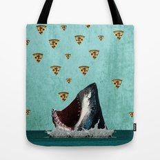 Pizza Shark Print Tote Bag