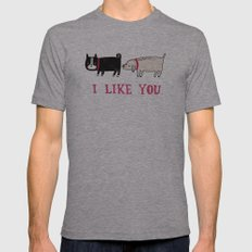 I Like You. Mens Fitted Tee Athletic Grey SMALL