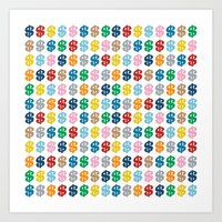 Colourful Money Repeat Art Print