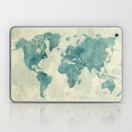 World Map Blue Vintage Laptop & iPad Skin