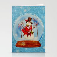 Snowman In A Snowglobe Stationery Cards