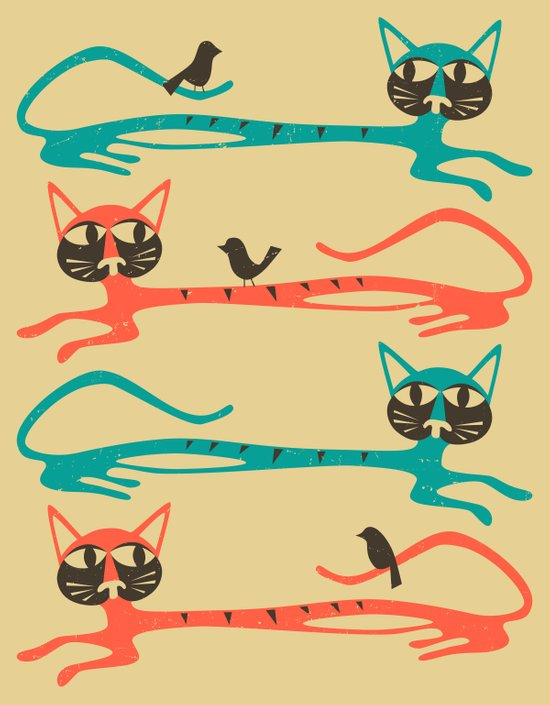 Birds on a Cat (Beige) Art Print