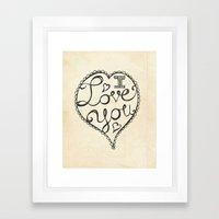 I Love You Sketch Framed Art Print