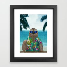 Sloth on summer holidays drinking a mojito Framed Art Print
