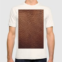 Leather Texture (Dark Brown) Mens Fitted Tee Natural SMALL
