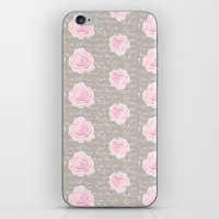 Watercolor roses on Taupe with French script iPhone & iPod Skin