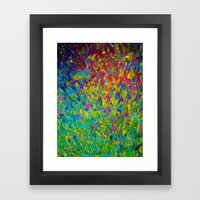 RAINBOW FIELDS - Colorful Abstract Acrylic Painting Ocean Waves Blue Teal Magenta Nature Fine Art Framed Art Print