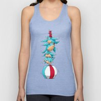 Blue Birds Balancing Boiling Beverages on a Beach Ball Unisex Tank Top