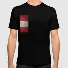 Austrian National Flag - Vintage Version Mens Fitted Tee SMALL Black