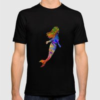 Psychedelic Mermaid Mens Fitted Tee Black SMALL