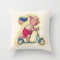 Cerdito En Patinete Throw Pillow