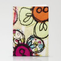 Embroidered Flowers Gree… Stationery Cards