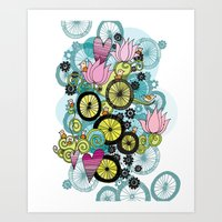 Bicycle Birds Art Print