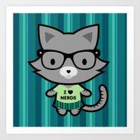 I Heart Nerds Kitty Art Print
