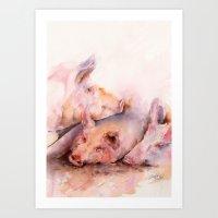 Pigs in clover Art Print