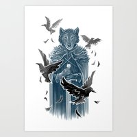 Wolf And Ravens Art Print