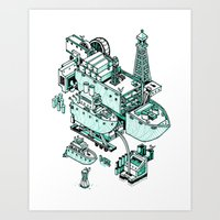 Small City - Green Art Print