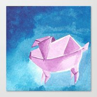 Canvas Print featuring Origami Pig 5 by eefak