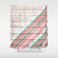 Andes Tribal Aztec Coral Teal Chevron Wood Pattern Shower Curtain