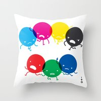 CMYK fights RGB Throw Pillow
