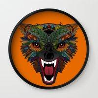 wolf fight flight orange Wall Clock