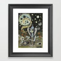 Moth Girl Singing to the Moon Framed Art Print