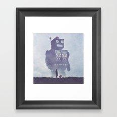 BEWARE THE GIANT ROBOTS! Framed Art Print
