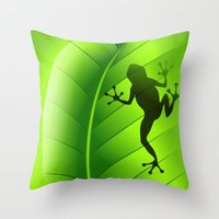 Frog Shape on Green Leaf Throw Pillow