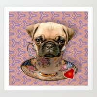 A little pug of tea Art Print