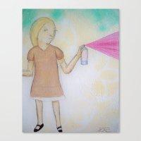 Spray Paint Girl Canvas Print