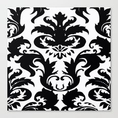 Black and White Victorian Damask #2 Canvas Print